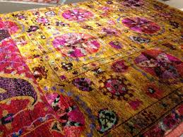 sari silk rugs hand knotted one of a kind uk colorful
