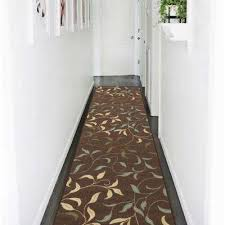 ottohome collection contemporary leaves design chocolate 3 ft x 10 ft runner rug