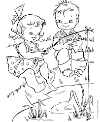 Small Picture Fishing Color Pages Happy Girl Fishing Summer Coloring Pages