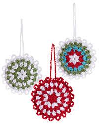 Pebble set di 3 decorazioni natalizie fiocchi di neve crochet