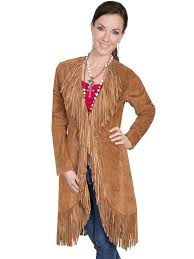 a scully las leather suede jacket western fringe coat cinnamon