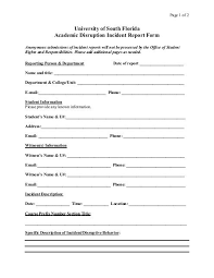 Academic Disruption Incident Report University Of South