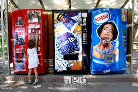 Vending Machine Girl Custom Little Girl With Drinks Vending Machine Stock Photo Picture And
