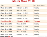 Mardi gras schedule for 2016