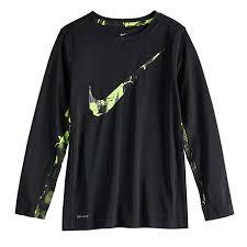 Nike Dri Fit Long Sleeve Size Chart Nike Big Boys Swoosh Logo Polyester Dri Fit Long Sleeve T Shirt