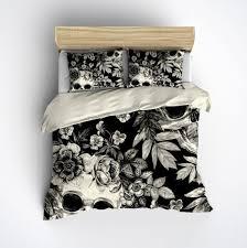 featherweight skull bedding black fl printed on cream comforter cover sugar skull duvet