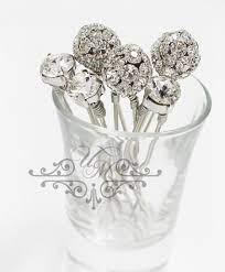 set of 6 swarovski crystal hair pins