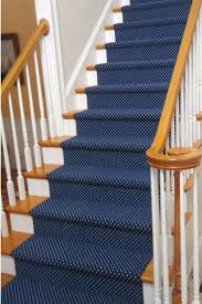 This classic navy blue and white dotted stair runner sets a crisp tone on  this straight