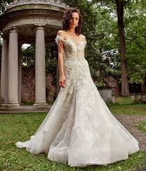 embroidered wedding dress. A line Wedding Dress With Embroidery Hand Beaded Lace And