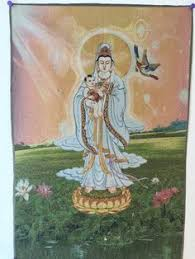 buy feng shui thangka tapestry guanyin holding a baby and improve your finances fertility and gain protection from harm buy feng shui