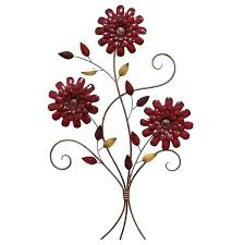 red flower ombre metal wall art
