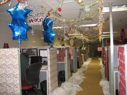 office decoration for christmas. decoration hanging blue stars and string lighting feat coloured balls plus snowflakes with nice cubicle office for christmas