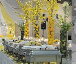 Decoration and food presentation of the wedding buffet table ...