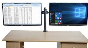 strong steel dual arm desk mount for two screens side by side conveniently frees up desk space holds two 13 30 monitors or tv s to 8kg each