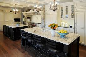 white kitchen island with granite top cabinets designs 2018 beautiful stylish rustic mini chandelier for lighting over mosaic four black back rail stools