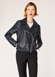 model front close up women s dark navy two way zip leather biker jacket paul