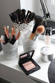 17 gorgeous makeup storage ideas beauty vanity organization ideas lace del cups as brush holders