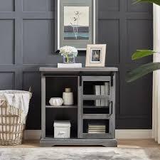 slate grey sliding glass door accent cabinet