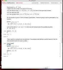 solving the quadratic equation with mathematica