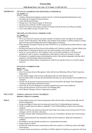 Financial Coordinator Resume Samples Velvet Jobs