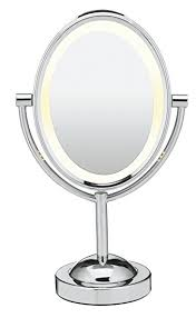 conair oval shaped double sided lighted makeup mirror 1x 7x magnification polished