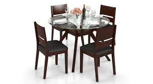 Glass top dining tables Wesley Wesley Cabalo leatherette Seater Round Glass Top Dining Table Set Urban Ladder Wesley Cabalo leatherette Seater Round Glass Top Dining Table
