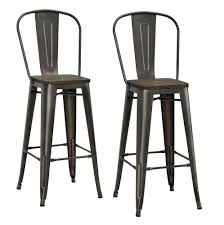 metal bar stools with wood seat. Amazon.com: DHP Luxor Metal Counter Stool With Wood Seat And Backrest, Set Of Two, 30\ Bar Stools