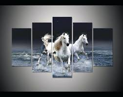 horse canvas wall art 5 panel large poster printed painting river running horse canvas print art