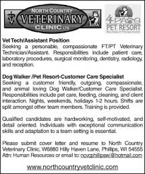 Vet Tech/Assistant Position - Dog Walker/Pet Resort-Customer Care ...