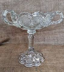 antique glass compote pedestal bowl with 3 handles rare