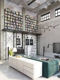 Industrial Loft With Home Library