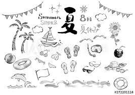 モノクロ 白黒 夏 日本の夏 イラスト ベクター 夏関連 夏イラスト 集合
