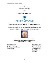 Financial Analysis of ashok leyland