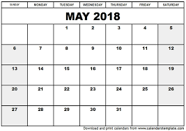 calendar for the month of may may 2018 monthly calendar printable templates printable calendar 2018