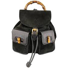 black gucci bags. vintage gucci black suede \u0026 leather bamboo handle backpack 1 gucci bags