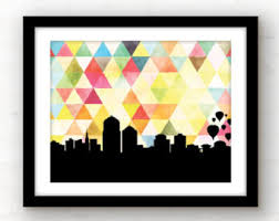 new mexico home decor: albuquerque new mexico art print albuquerque skyline art print new mexico home decor skyline art print geometric home decor