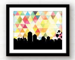 new mexico home decor: albuquerque new mexico art print albuquerque skyline art print new mexico home decor skyline art print geometric home decor