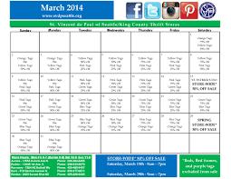 March Sales Calendar St Vincent De Paul