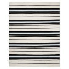strata stripe indoor outdoor rug 8x10 black