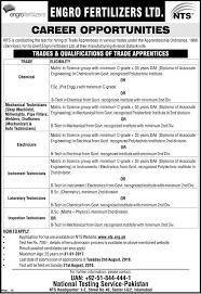 engro fertilizers trade apprentice jobs application forms study click here
