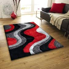 bright black gray red rug made with long lasting use and soft comfort materials that