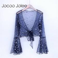 Crop Top Design Pattern Jocoo Jolee Sexy Deep V Neck Crop Tops Star Pattern Flare