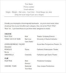 beginner acting resume sample beginner acting resume template sample acting resume