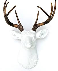 white and bronze faux deer head antlers fake taxidermy wall decor mount