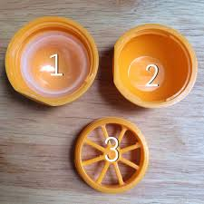 the eos lip balm containers have three parts you have the top the base and the bottom you want to twist part 3 as seen in the above picture into