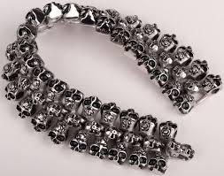men snless steel skull bracelet 316l cuff chain heavy biker jewelry 130 whole