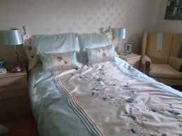 beautiful dunelm double bed set with matching curtains and tie backs in duck egg cream