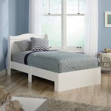 White Wooden Twin Size Bed Frame With Wingback Headboard Of ...