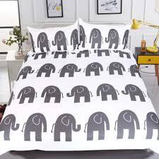 cartoon bedding elephant printed gray duvet cover set 3pcs multicolor queen