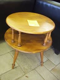 mersman furniture antique 2 tiered vintage round end table aged wooden end and side tables